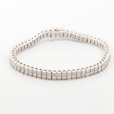 14K White Gold 3.97 CTW Diamond Double Row Tennis Bracelet