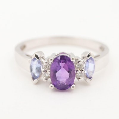 14K White Gold Amethyst, Tanzanite, and Diamond Ring