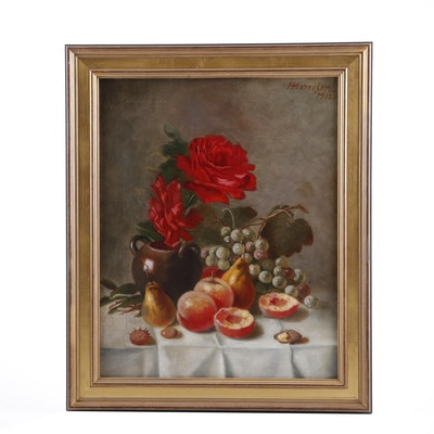 Still Life Oil Painting Attributed to Henry Harrison, 1912