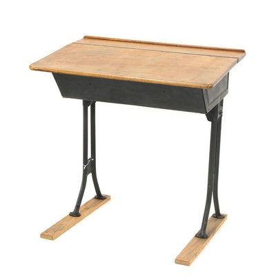 Ebonized Metal and Wood Lift-Lid School Desk, 20th Century