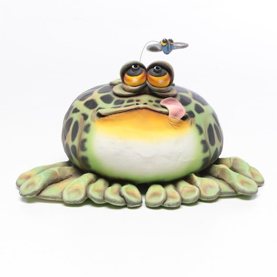 "Todd J. Warner Limited Edition ""Whimsical Baby Frog"" Ceramic Figurine, 1999"