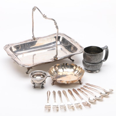 Roberts & Belk English Silver Plate Server with Assorted Silver Plate Serveware