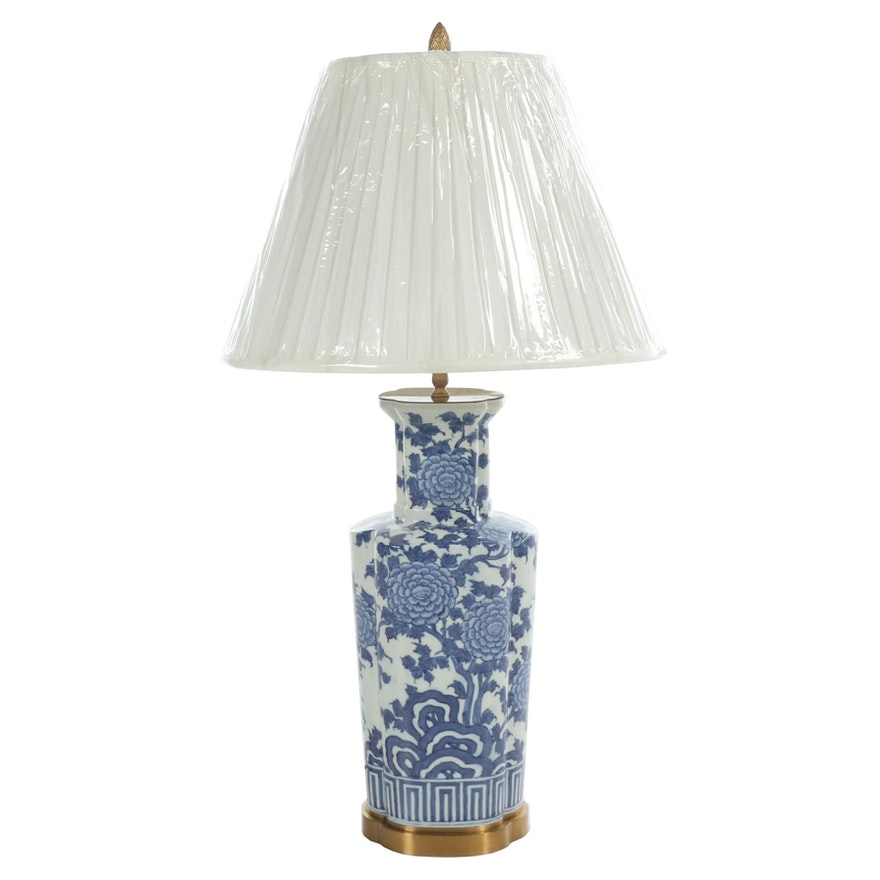 Chinese Blue and White Ceramic Vase Form Table Lamp with Fabric Shade