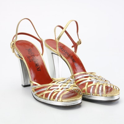 Yves Saint Laurent Paris Two-Tone Metallic High Heel Sandals