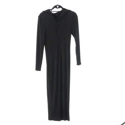 Agostino Black Maxi Dress with Fabric Covered Buttons