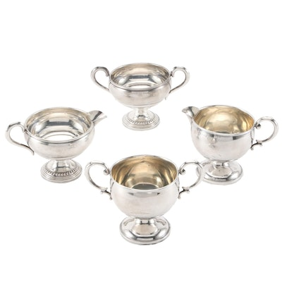 Empire and Hamilton Weighted Sterling Silver Creamers and Open Sugar Bowls