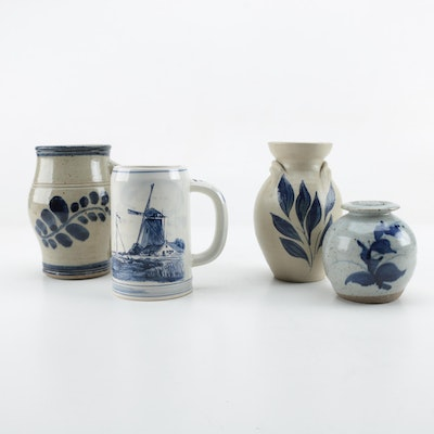 Thrown Stoneware Vessels with Hand-Painted Details Including Delft Blue