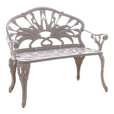 Wrought Iron Painted Tulip Themed Patio Bench, Contemporary
