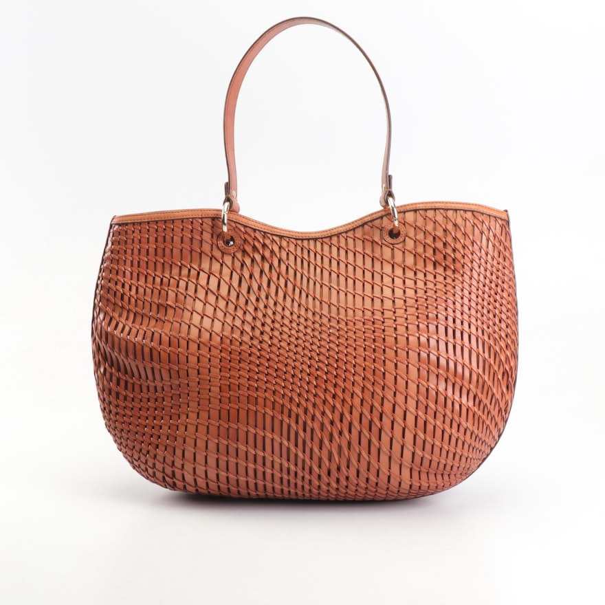 968bfac0e6 Cole Haan Genevieve Woven Leather Tote Bag in Cognac | EBTH