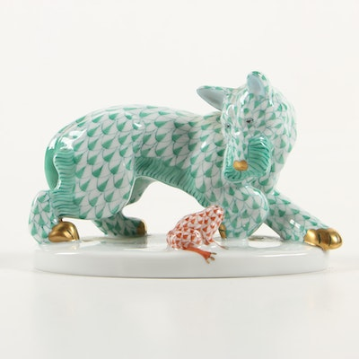 "Herend Green and Rust Fishnet ""Scottish Terrier with Frog"" Porcelain Figurine"