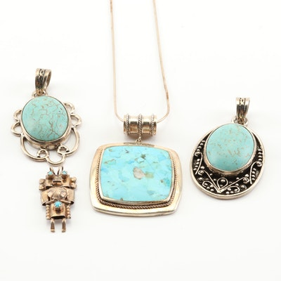 Sterling Silver Turquoise Pendants and Pendant Necklace