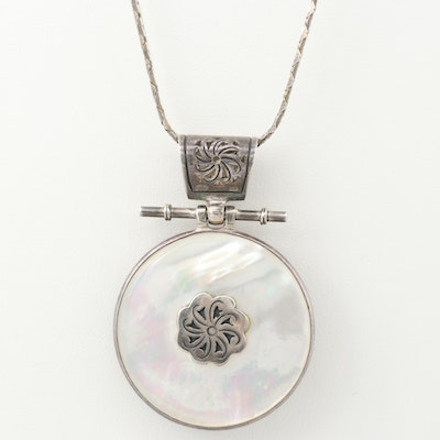 Sterling Silver Mother of Pearl and Cultured Pearl Reversible Pendant Necklace