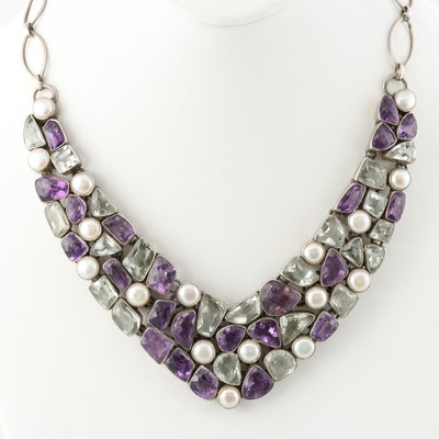 Sterling Silver Amethyst, Prasiolite, and Cultured Pearl Necklace