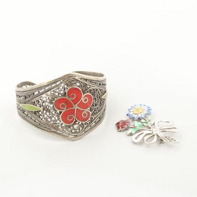 Sterling Silver Enamel Brooch and Silver Tone Enamel Bracelet