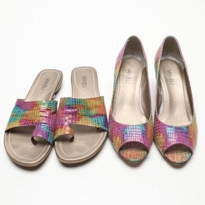 Vaneli Multicolor Leather Toe Loop Slides and Wedges