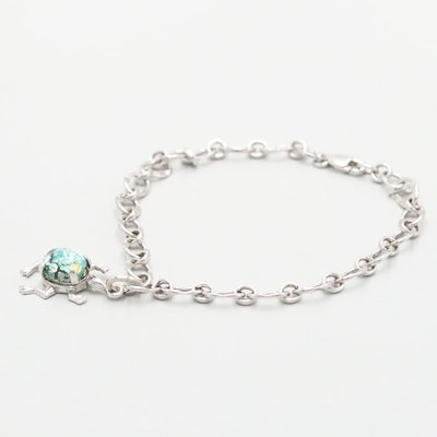 Sterling Silver Glass Frog Charm Bracelet