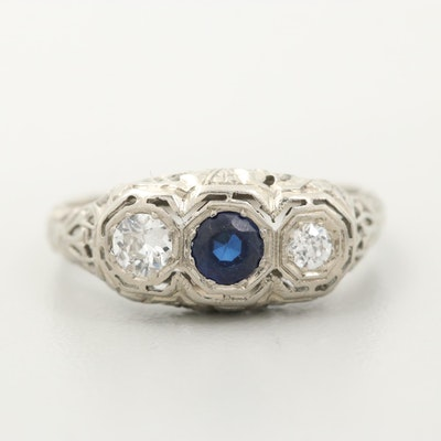 Vintage 18K White Gold Synthetic Sapphire and Diamond Ring