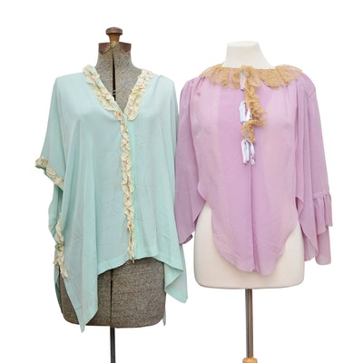 Women's Lace-Embellished Silk Lingerie Tops, Vintage