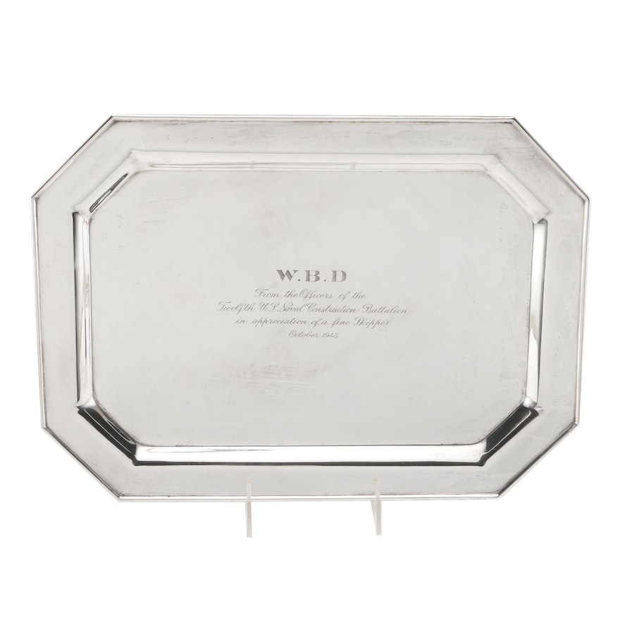 Sterling Silver Tray With 1943 Military Inscription