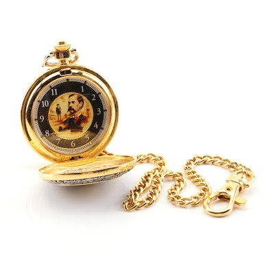 Franklin Mint Collection Wyatt Earp Pocket Watch and Fob Chain