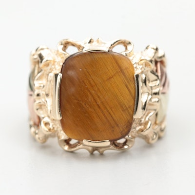 Coleman Co. 10K Yellow Gold Tiger's Eye Ring with Rose and Green Gold Accents