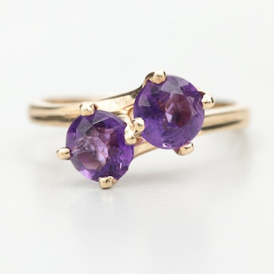 14K Yellow Gold Amethyst Bypass Ring