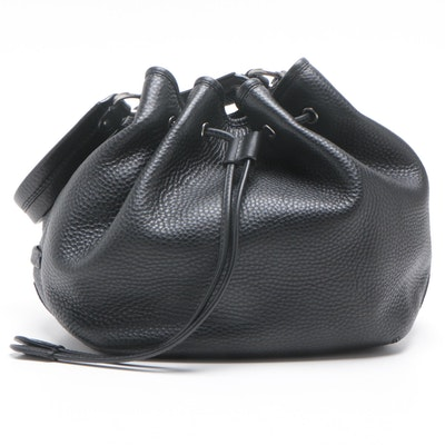 Cole Haan Black Pebbled Leather Drawstring Bucket Bag