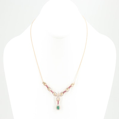 14K Yellow Gold Emerald, Ruby and Diamond Necklace