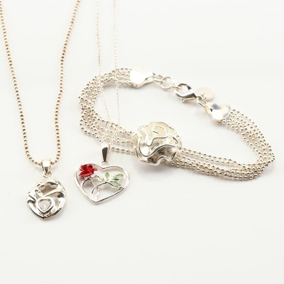 Sterling Silver Mother & Child Pendant, Open Heart Necklace and Flower Bracelet