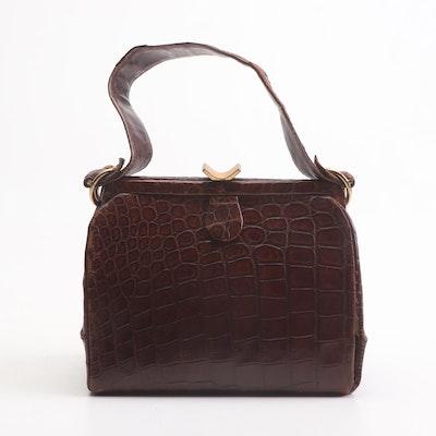 J. Nadelle Alligator Skin Handbag, Mid-20th Century