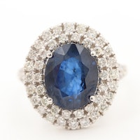 18K White Gold 3.89 CT Blue Sapphire and 1.23 CTW Diamond Ring