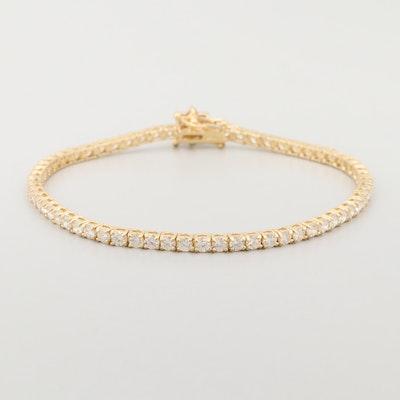 18K Yellow Gold 4.27 CTW Diamond Flower Tennis Bracelet