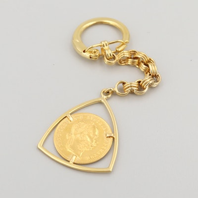 14K Gold Key Chain with 1915 Austria-Habsburg One Ducat Restike Gold Coin