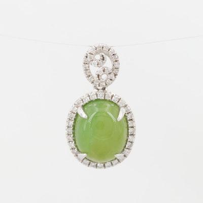 18K White Gold Green Opal and Diamond Pendant
