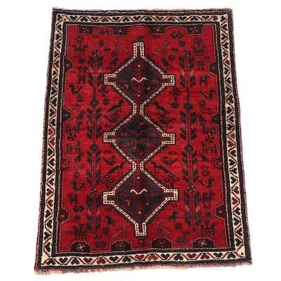 Hand-Knotted Persian Shiraz Pictorial Wool Rug