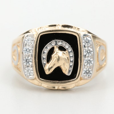 14K Yellow and White Gold Black Glass and Cubic Zirconia Equestrian Ring