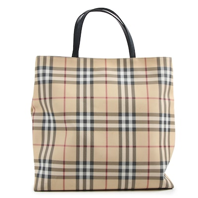 "Burberry London ""Nova Check"" Tote in Coated Canvas with Leather"