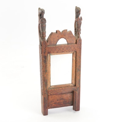 Handcrafted Wood Vanity Mirror with Door, Mid-19th Century