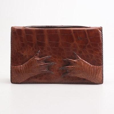 Cuban Alligator Skin Clutch Handbag, Mid-20th Century
