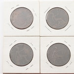Four Victorian Great Britain Pennies Ranging From 1876-1900