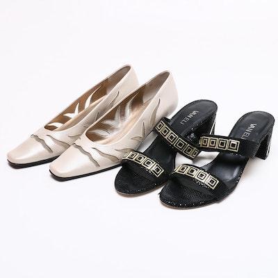 Vaneli Maureen Black and Nude Heels