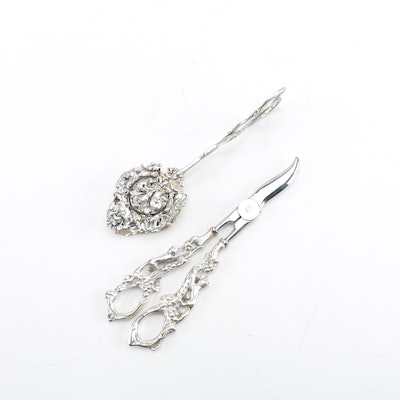 Italian Silver Plate Pastry Tongs and Grape Shears