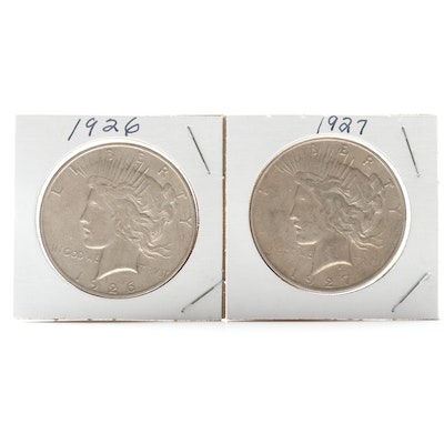 1926-D and 1927-D Peace Silver Dollar Coins