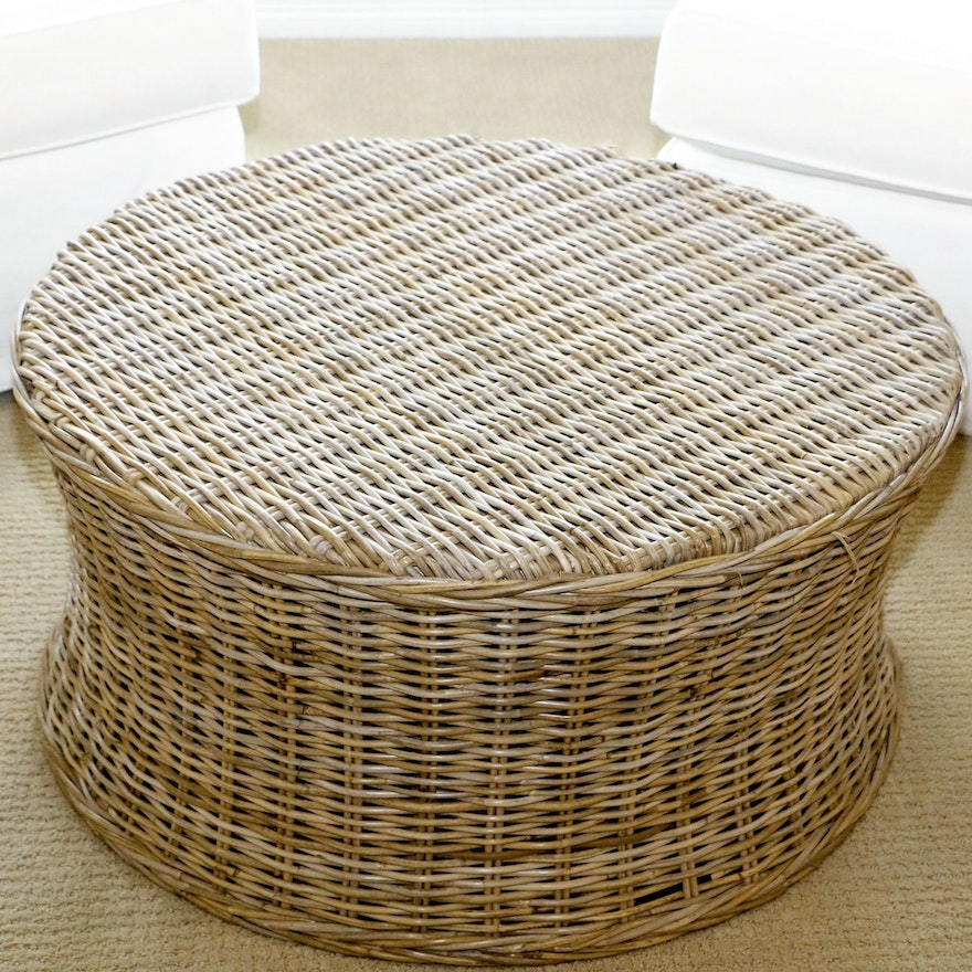 Incredible Contemporary Round Wicker Ottoman Pabps2019 Chair Design Images Pabps2019Com