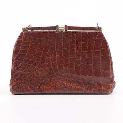 Alligator Skin Handbag with Chain Strap and Pocket Mirror, Mid-20th Century