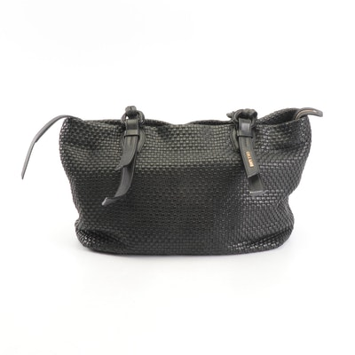 Cole Haan Black Woven Leather Tote Shoulder Bag