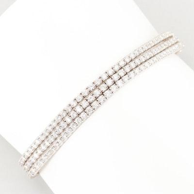 18K White Gold 7.75 CTW Diamond Triple Strand Tennis Bracelet