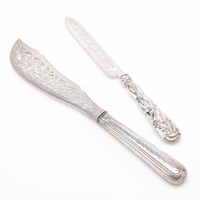 Aaron Hadfield and Hilliard & Thomason Sterling Silver Knives, 19th Century