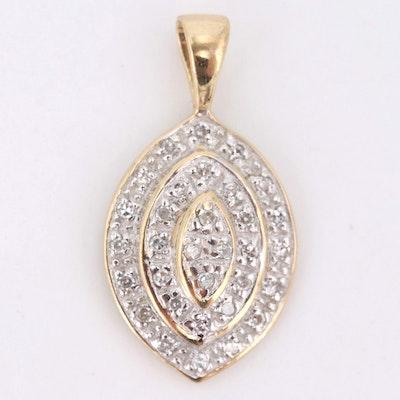 10K Yellow Gold Diamond Pendant