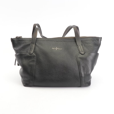 Cole Haan Black Pebbled Leather Tote Bag with Tassel